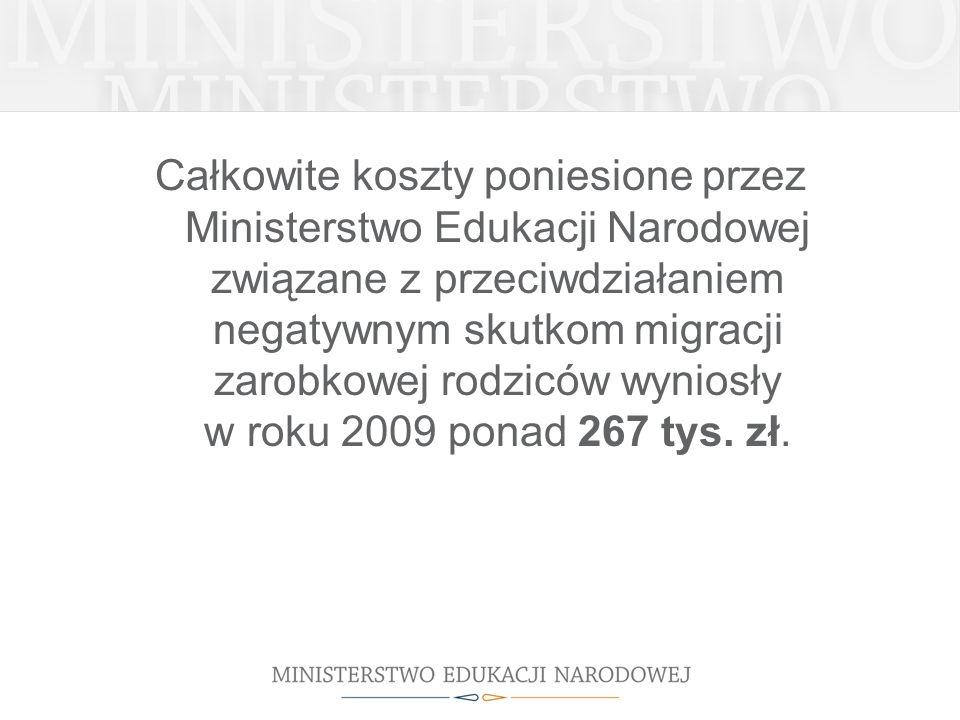 Całkowite koszty poniesione przez Ministerstwo Edukacji Narodowej związane z przeciwdziałaniem negatywnym skutkom migracji zarobkowej rodziców wyniosł