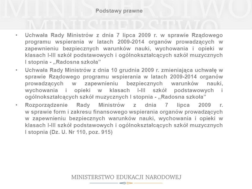 Podstawy prawne Uchwała Rady Ministrów z dnia 7 lipca 2009 r. w sprawie Rządowego programu wspierania w latach 2009-2014 organów prowadzących w zapewn