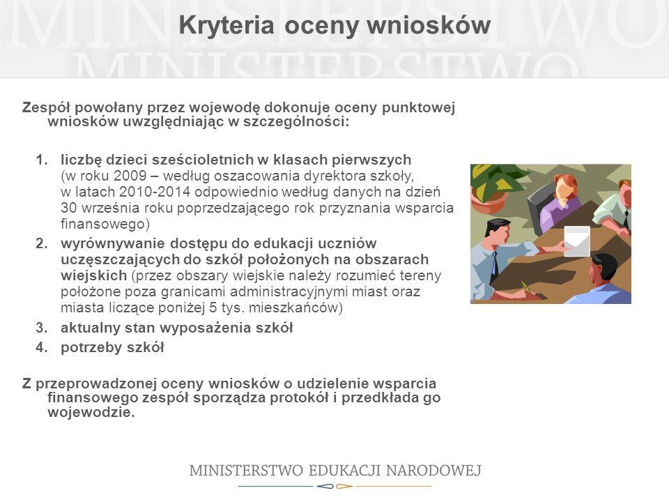 Kryteria oceny wniosków Zespół powołany przez wojewodę dokonuje oceny punktowej wniosków uwzględniając w szczególności: 1.liczbę dzieci sześcioletnich