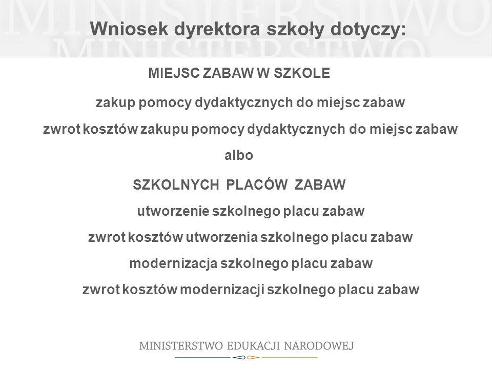 Wniosek dyrektora szkoły dotyczy: MIEJSC ZABAW W SZKOLE zakup pomocy dydaktycznych do miejsc zabaw zwrot kosztów zakupu pomocy dydaktycznych do miejsc