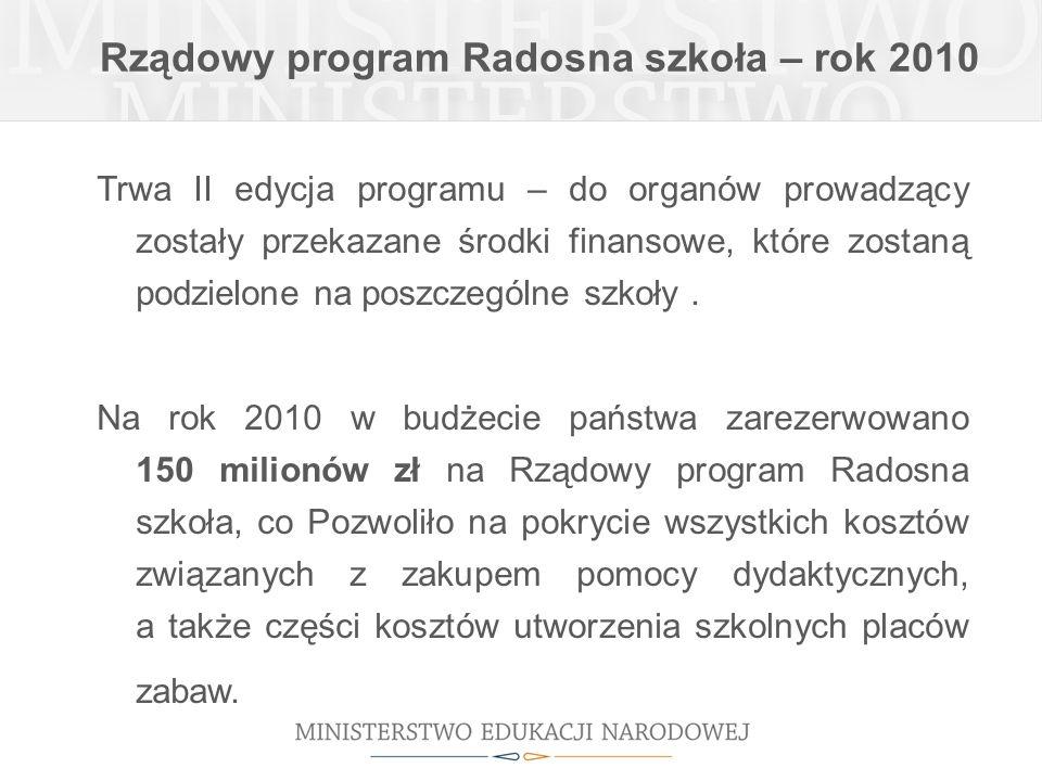 Rządowy program Radosna szkoła – rok 2010 Trwa II edycja programu – do organów prowadzący zostały przekazane środki finansowe, które zostaną podzielon