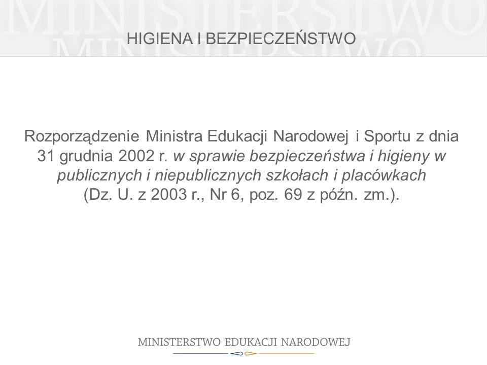 HIGIENA I BEZPIECZEŃSTWO Rozporządzenie Ministra Edukacji Narodowej i Sportu z dnia 31 grudnia 2002 r. w sprawie bezpieczeństwa i higieny w publicznyc