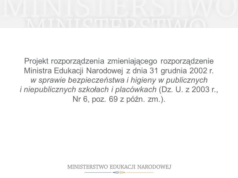 Projekt rozporządzenia zmieniającego rozporządzenie Ministra Edukacji Narodowej z dnia 31 grudnia 2002 r. w sprawie bezpieczeństwa i higieny w publicz