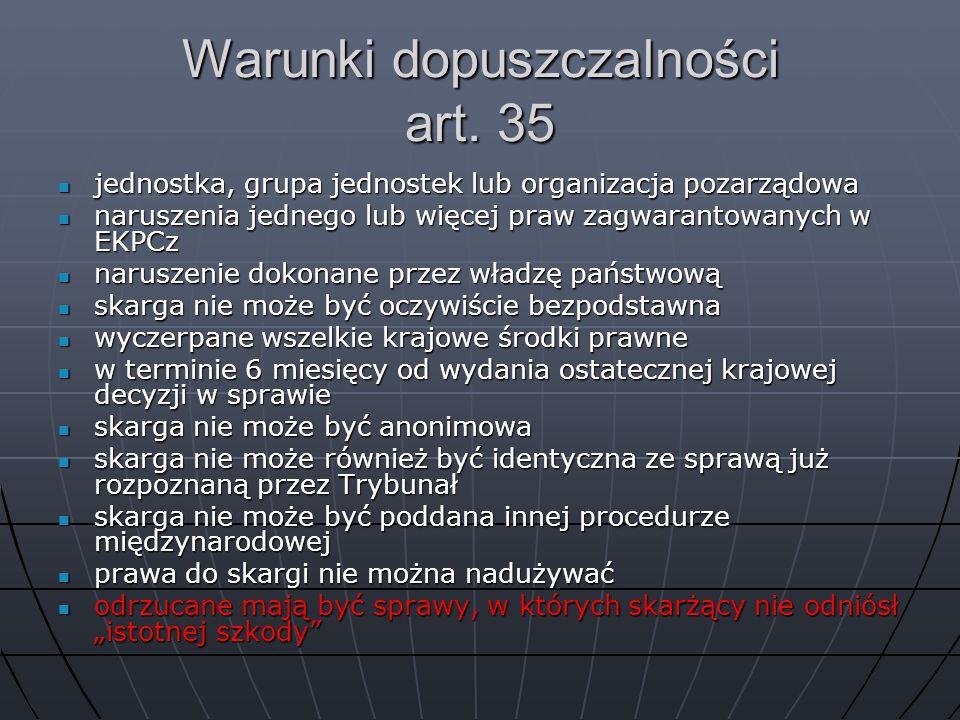 Warunki dopuszczalności art. 35 jednostka, grupa jednostek lub organizacja pozarządowa jednostka, grupa jednostek lub organizacja pozarządowa naruszen