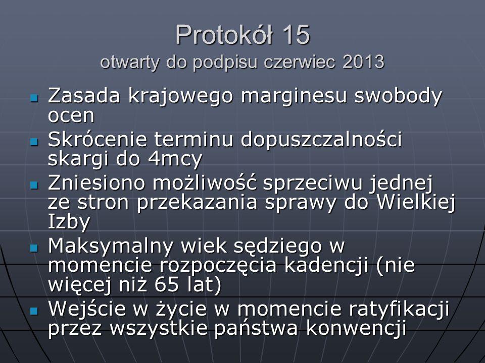 Protokół 15 otwarty do podpisu czerwiec 2013 Zasada krajowego marginesu swobody ocen Zasada krajowego marginesu swobody ocen Skrócenie terminu dopuszc