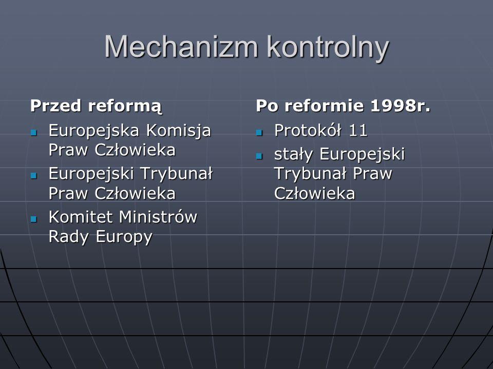 Mechanizm kontrolny Przed reformą Europejska Komisja Praw Człowieka Europejska Komisja Praw Człowieka Europejski Trybunał Praw Człowieka Europejski Tr