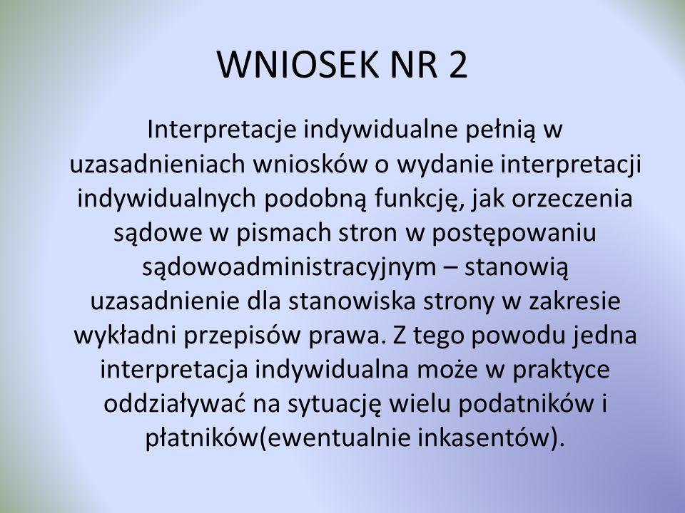 WNIOSEK NR 2 Interpretacje indywidualne pełnią w uzasadnieniach wniosków o wydanie interpretacji indywidualnych podobną funkcję, jak orzeczenia sądowe