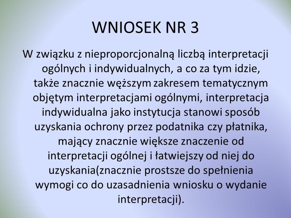 WNIOSEK NR 3 W związku z nieproporcjonalną liczbą interpretacji ogólnych i indywidualnych, a co za tym idzie, także znacznie węższym zakresem tematycz