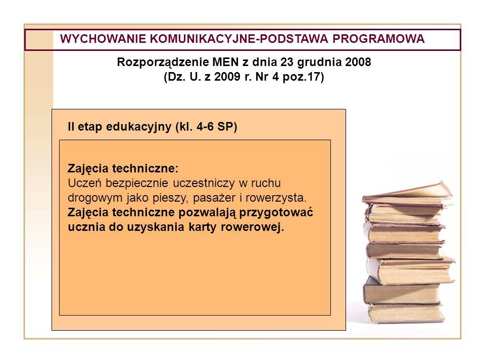 WYCHOWANIE KOMUNIKACYJNE-PODSTAWA PROGRAMOWA Rozporządzenie MEN z dnia 23 grudnia 2008 (Dz. U. z 2009 r. Nr 4 poz.17) II etap edukacyjny (kl. 4-6 SP)