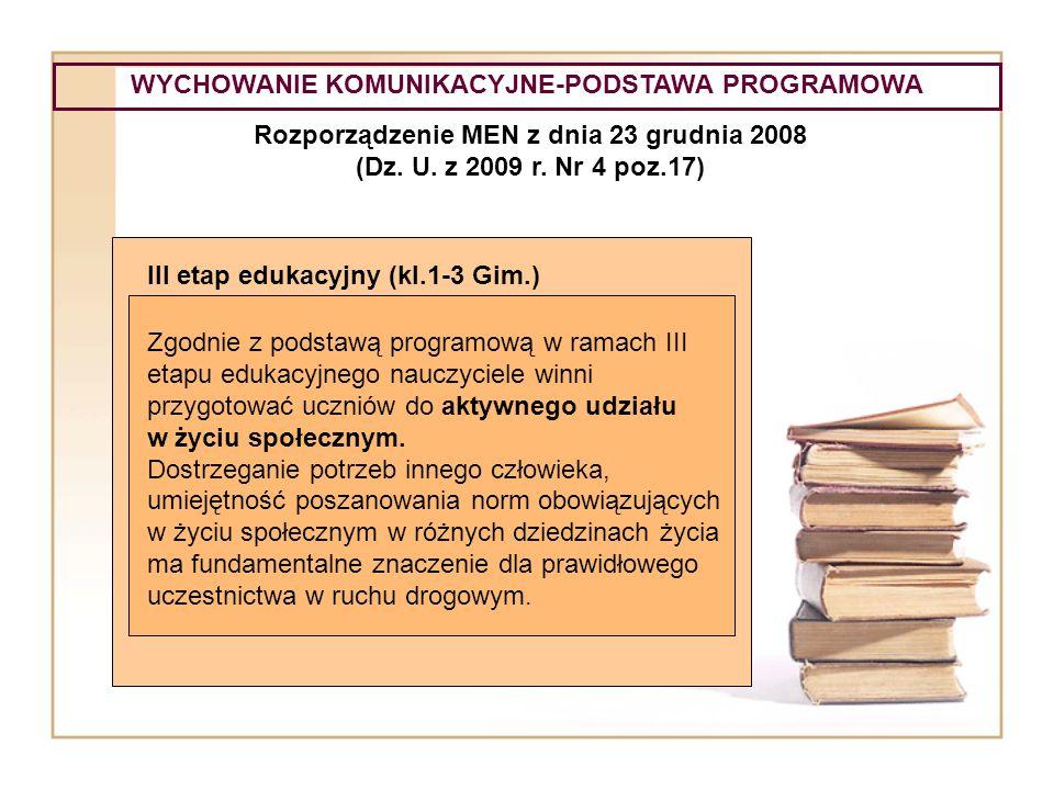 WYCHOWANIE KOMUNIKACYJNE-PODSTAWA PROGRAMOWA Rozporządzenie MEN z dnia 23 grudnia 2008 (Dz. U. z 2009 r. Nr 4 poz.17) III etap edukacyjny (kl.1-3 Gim.
