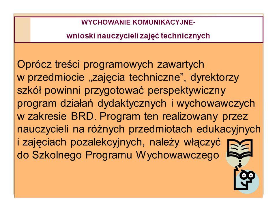 WYCHOWANIE KOMUNIKACYJNE- wnioski nauczycieli zajęć technicznych Oprócz treści programowych zawartych w przedmiocie zajęcia techniczne, dyrektorzy szk