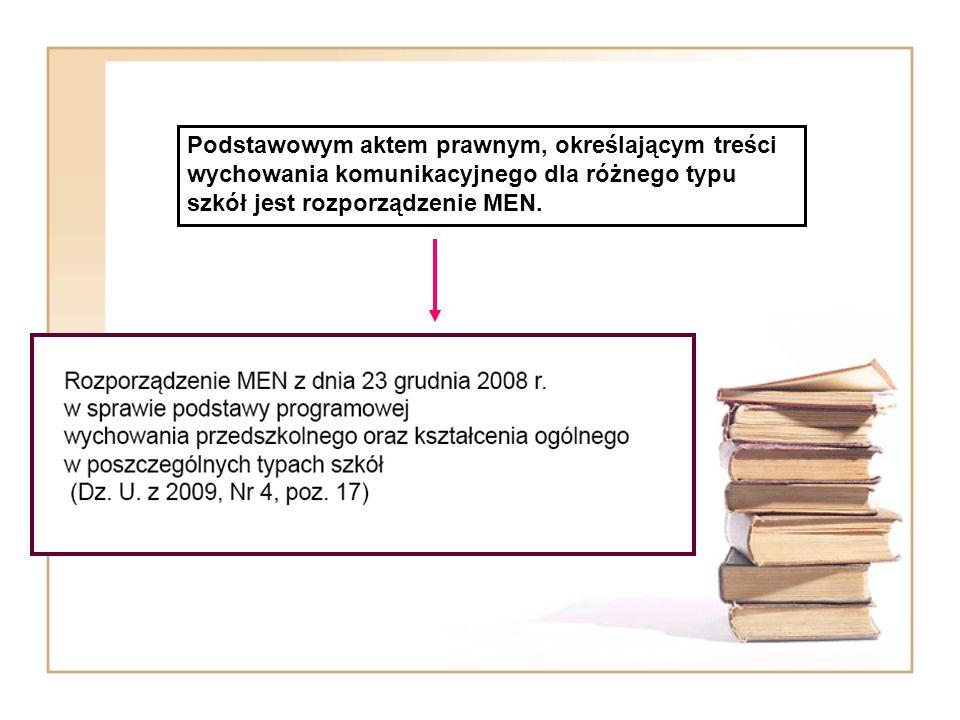 Podstawowym aktem prawnym, określającym treści wychowania komunikacyjnego dla różnego typu szkół jest rozporządzenie MEN.