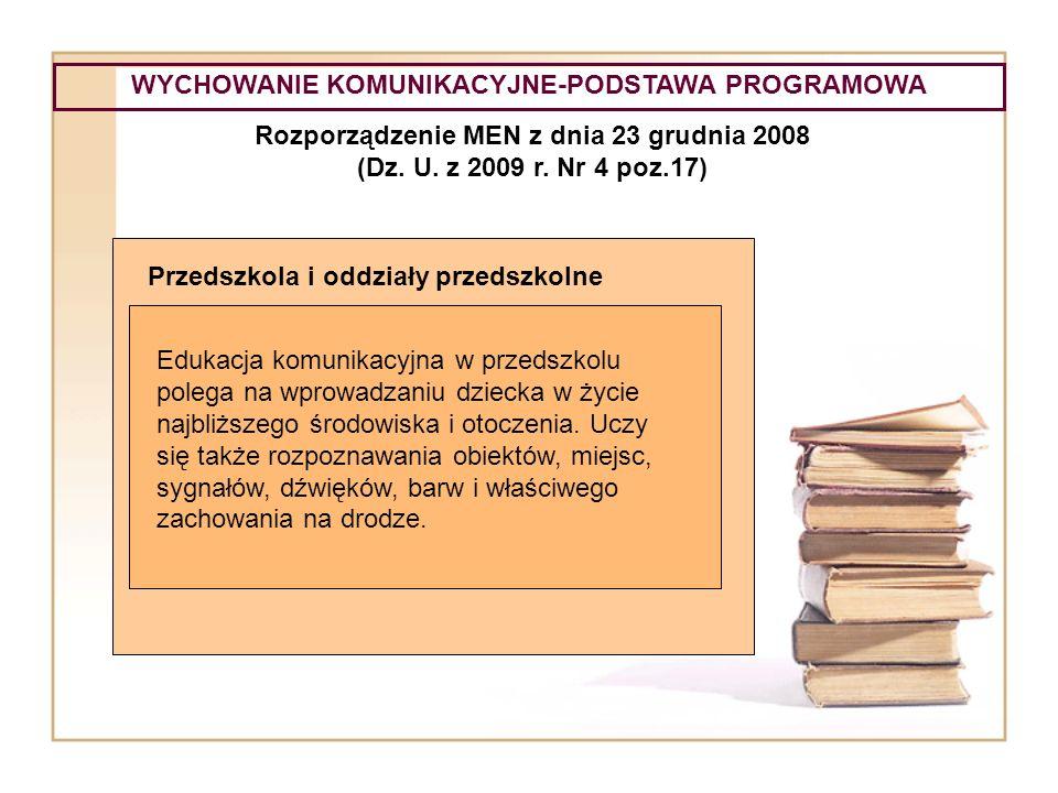 WYCHOWANIE KOMUNIKACYJNE-PODSTAWA PROGRAMOWA Rozporządzenie MEN z dnia 23 grudnia 2008 (Dz. U. z 2009 r. Nr 4 poz.17) Przedszkola i oddziały przedszko