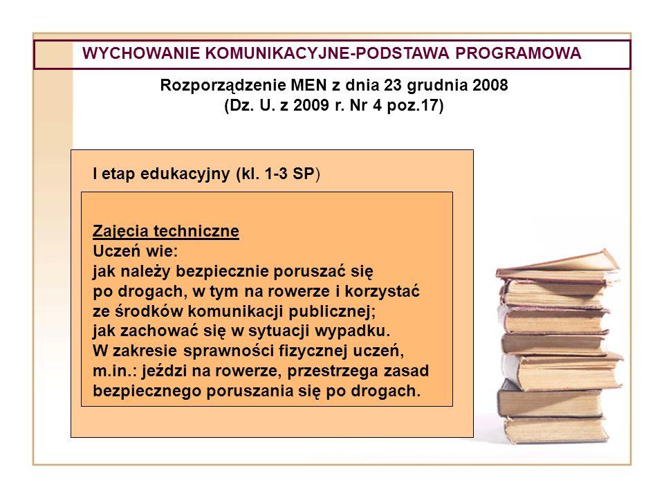 WYCHOWANIE KOMUNIKACYJNE-PODSTAWA PROGRAMOWA Rozporządzenie MEN z dnia 23 grudnia 2008 (Dz. U. z 2009 r. Nr 4 poz.17) I etap edukacyjny (kl. 1-3 SP) Z