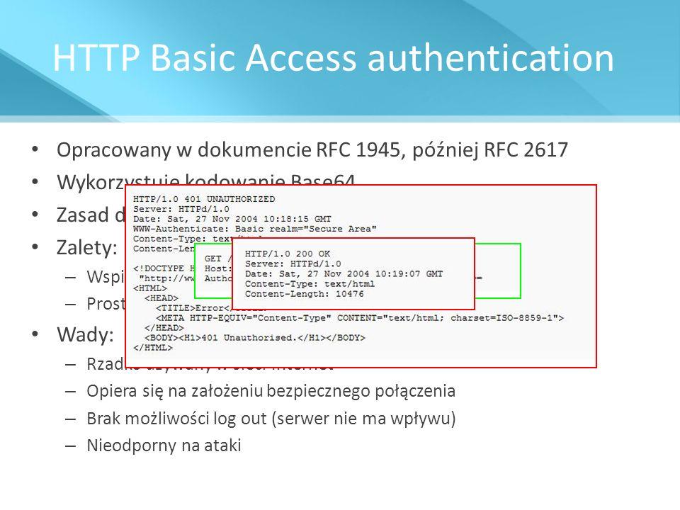 HTTP Basic Access authentication Opracowany w dokumencie RFC 1945, później RFC 2617 Wykorzystuje kodowanie Base64 Zasad działania Zalety: – Wspierany