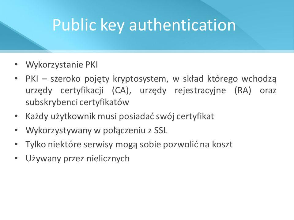 Public key authentication Wykorzystanie PKI PKI – szeroko pojęty kryptosystem, w skład którego wchodzą urzędy certyfikacji (CA), urzędy rejestracyjne