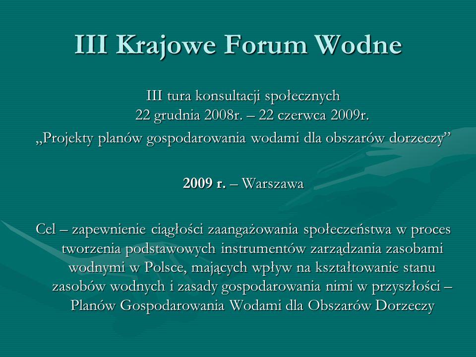 III Krajowe Forum Wodne III tura konsultacji społecznych 22 grudnia 2008r. – 22 czerwca 2009r. Projekty planów gospodarowania wodami dla obszarów dorz