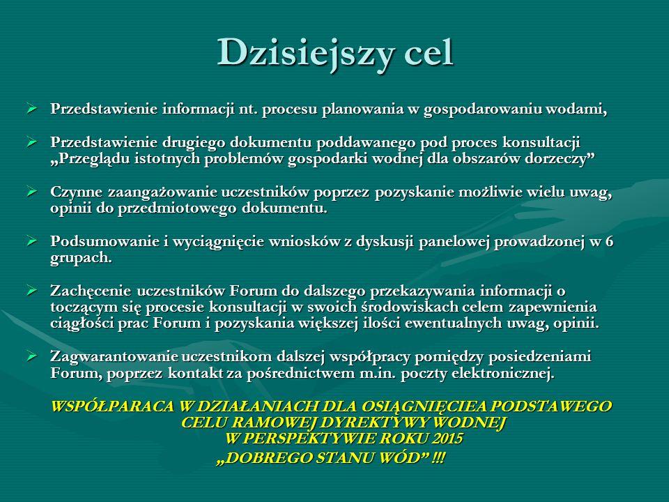 Dzisiejszy cel Przedstawienie informacji nt. procesu planowania w gospodarowaniu wodami, Przedstawienie informacji nt. procesu planowania w gospodarow
