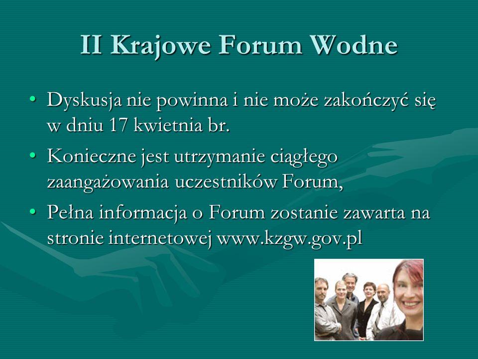 II Krajowe Forum Wodne Dyskusja nie powinna i nie może zakończyć się w dniu 17 kwietnia br.Dyskusja nie powinna i nie może zakończyć się w dniu 17 kwi