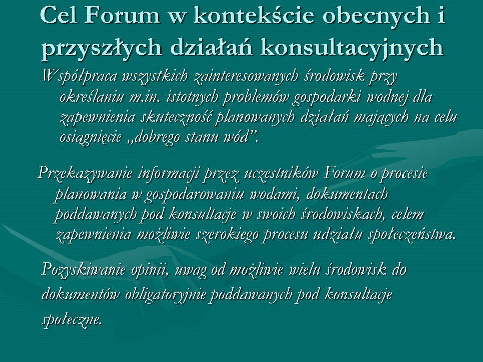 Cel Forum w kontekście obecnych i przyszłych działań konsultacyjnych Współpraca wszystkich zainteresowanych środowisk przy określaniu m.in. istotnych