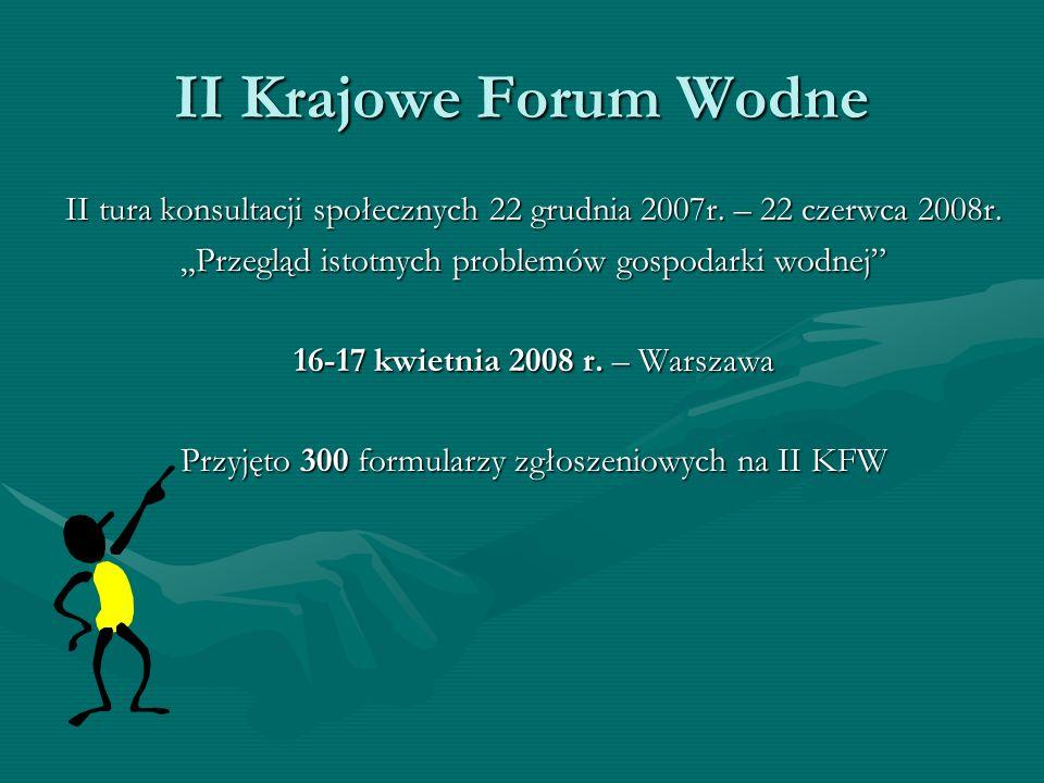 II Krajowe Forum Wodne II tura konsultacji społecznych 22 grudnia 2007r. – 22 czerwca 2008r. Przegląd istotnych problemów gospodarki wodnej 16-17 kwie