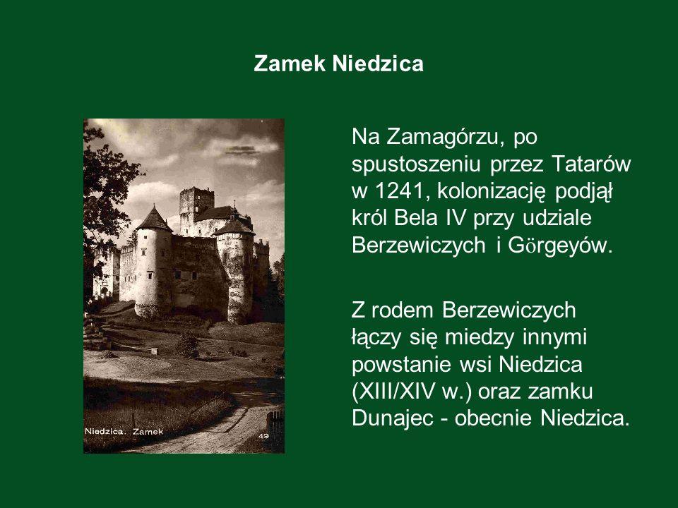 Zamek Niedzica Na Zamagórzu, po spustoszeniu przez Tatarów w 1241, kolonizację podjął król Bela IV przy udziale Berzewiczych i G ö rgeyów. Z rodem Ber