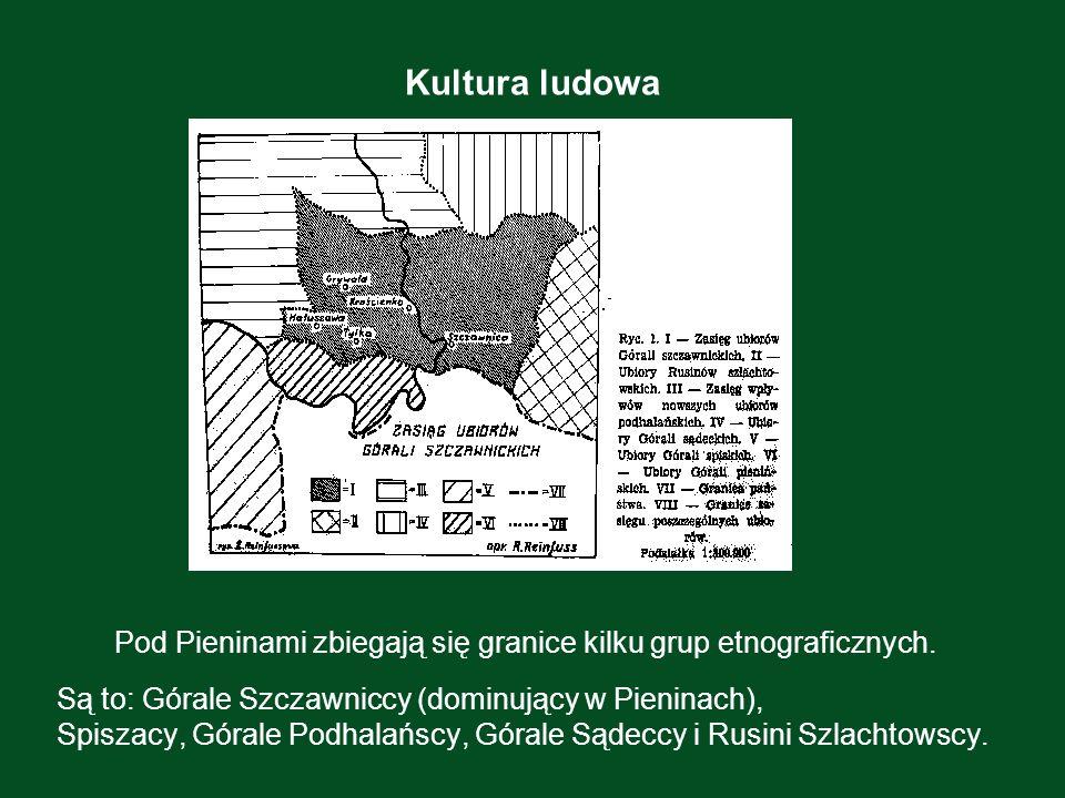 Kultura ludowa Pod Pieninami zbiegają się granice kilku grup etnograficznych. Są to: Górale Szczawniccy (dominujący w Pieninach), Spiszacy, Górale Pod