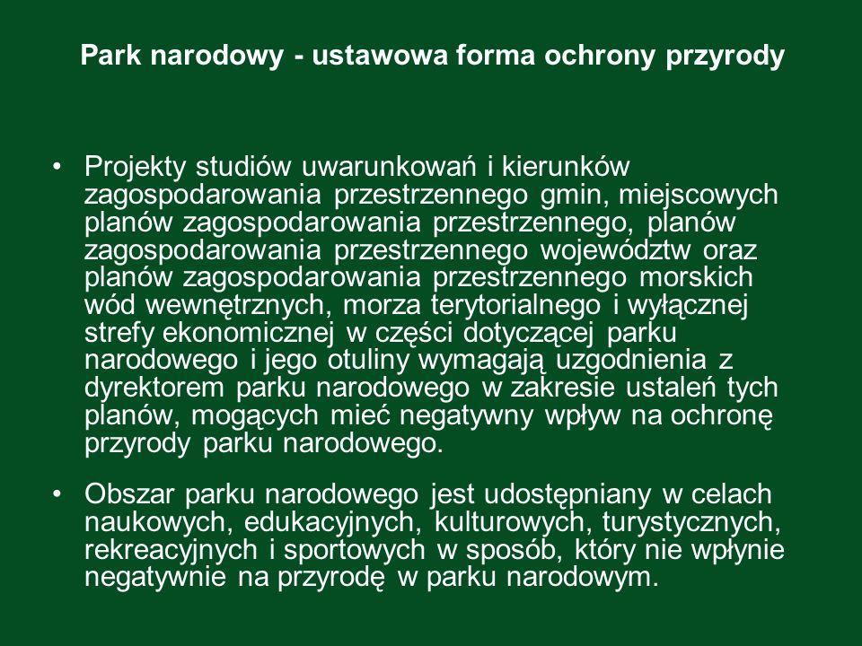 Park narodowy - ustawowa forma ochrony przyrody Projekty studiów uwarunkowań i kierunków zagospodarowania przestrzennego gmin, miejscowych planów zago