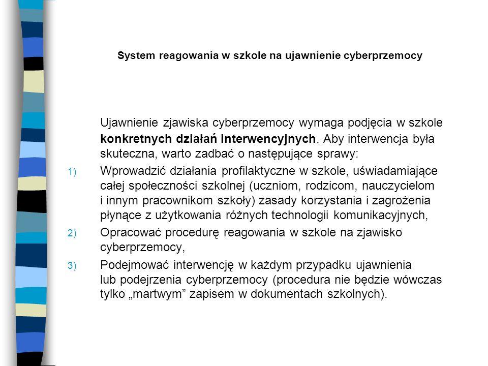 System reagowania w szkole na ujawnienie cyberprzemocy Ujawnienie zjawiska cyberprzemocy wymaga podjęcia w szkole konkretnych działań interwencyjnych.