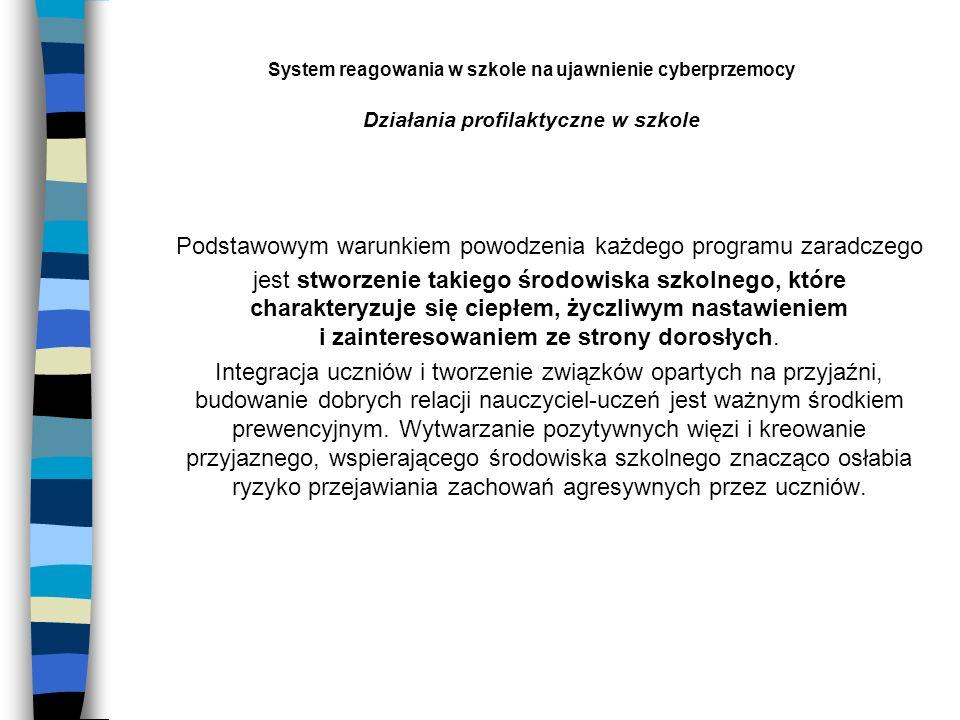 System reagowania w szkole na ujawnienie cyberprzemocy Działania profilaktyczne w szkole Podstawowym warunkiem powodzenia każdego programu zaradczego