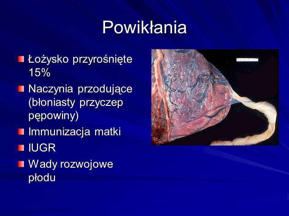 Powikłania Łożysko przyrośnięte 15% Naczynia przodujące (błoniasty przyczep pępowiny) Immunizacja matki IUGR Wady rozwojowe płodu