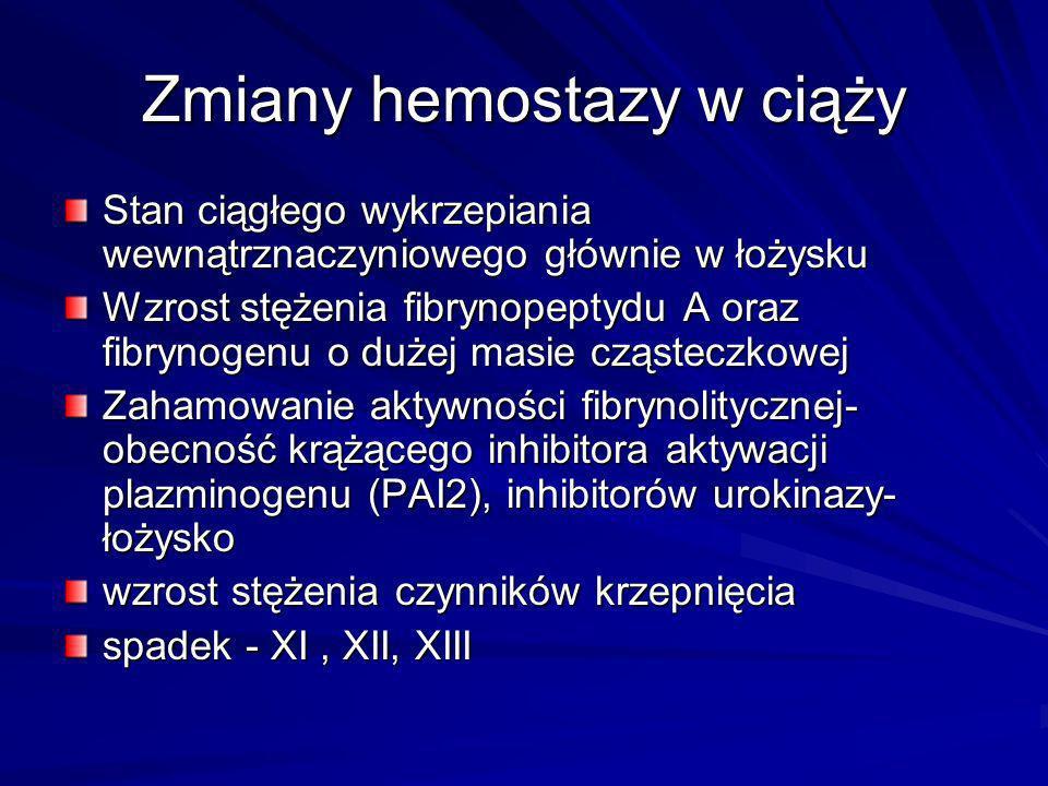 Zmiany hemostazy w ciąży Stan ciągłego wykrzepiania wewnątrznaczyniowego głównie w łożysku Wzrost stężenia fibrynopeptydu A oraz fibrynogenu o dużej m