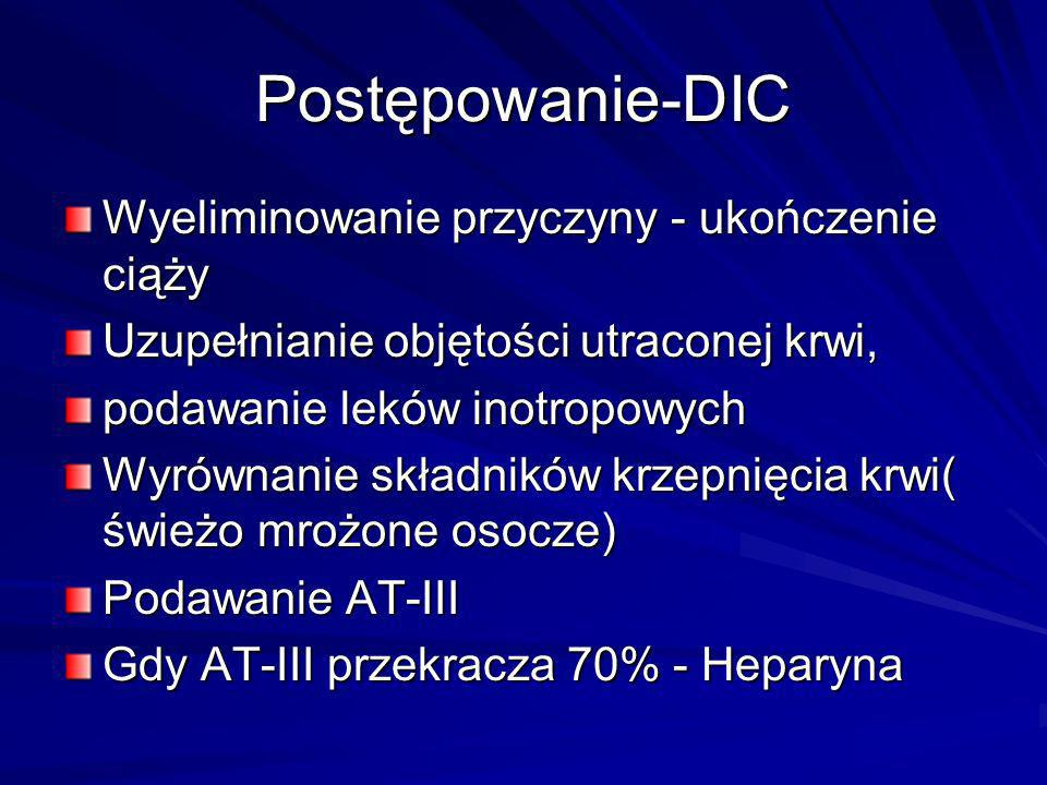 Postępowanie-DIC Wyeliminowanie przyczyny - ukończenie ciąży Uzupełnianie objętości utraconej krwi, podawanie leków inotropowych Wyrównanie składników