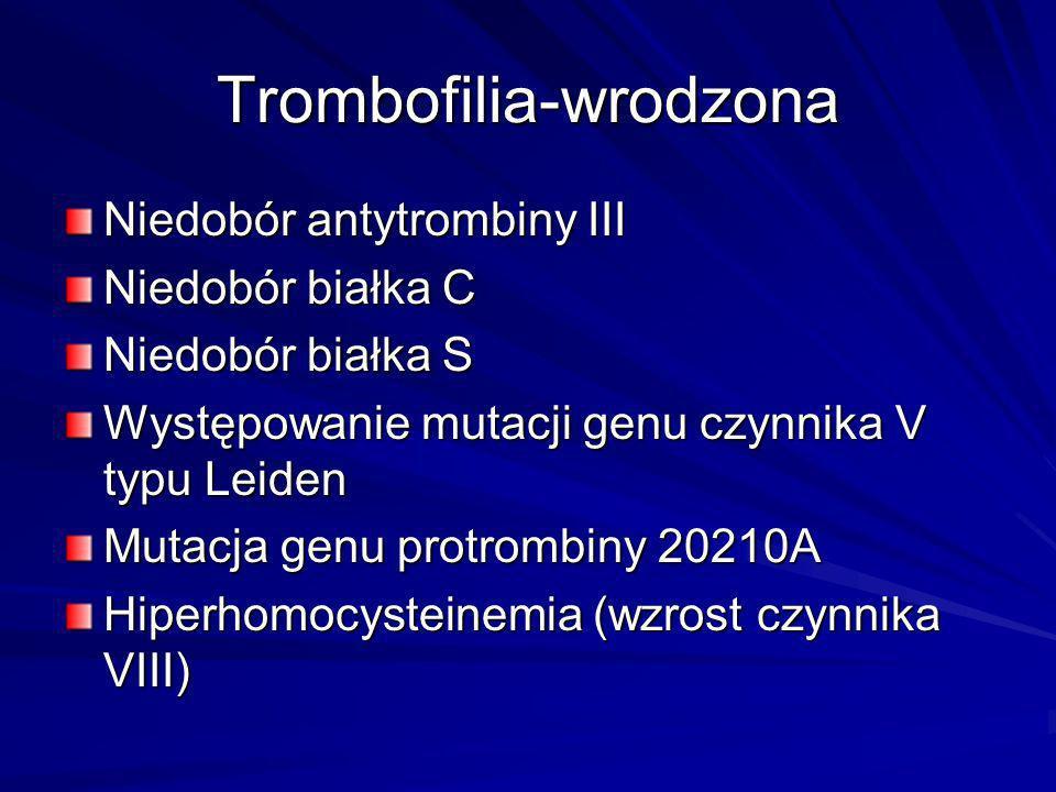 Trombofilia-wrodzona Niedobór antytrombiny III Niedobór białka C Niedobór białka S Występowanie mutacji genu czynnika V typu Leiden Mutacja genu protr