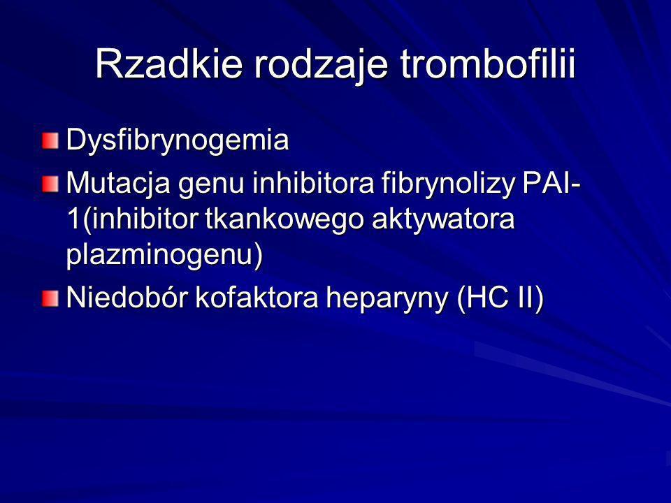 Rzadkie rodzaje trombofilii Dysfibrynogemia Mutacja genu inhibitora fibrynolizy PAI- 1(inhibitor tkankowego aktywatora plazminogenu) Niedobór kofaktor