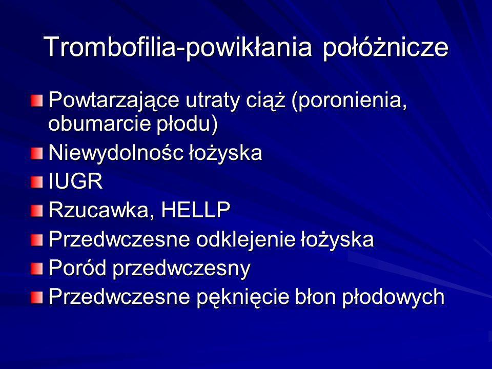 Trombofilia-powikłania połóżnicze Powtarzające utraty ciąż (poronienia, obumarcie płodu) Niewydolnośc łożyska IUGR Rzucawka, HELLP Przedwczesne odklej