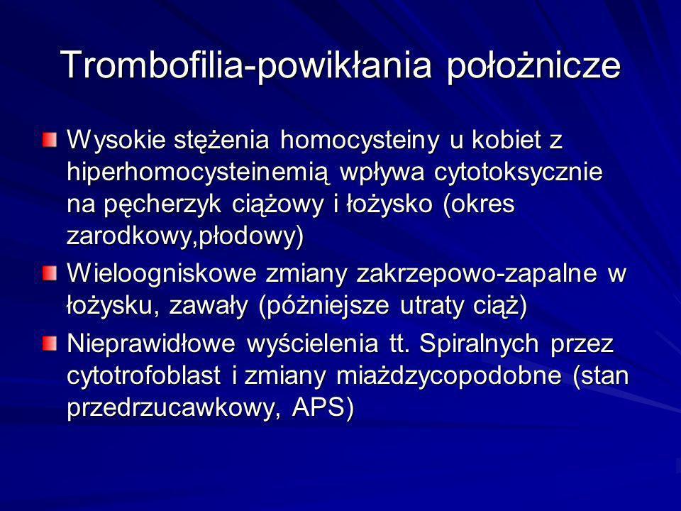 Trombofilia-powikłania położnicze Wysokie stężenia homocysteiny u kobiet z hiperhomocysteinemią wpływa cytotoksycznie na pęcherzyk ciążowy i łożysko (