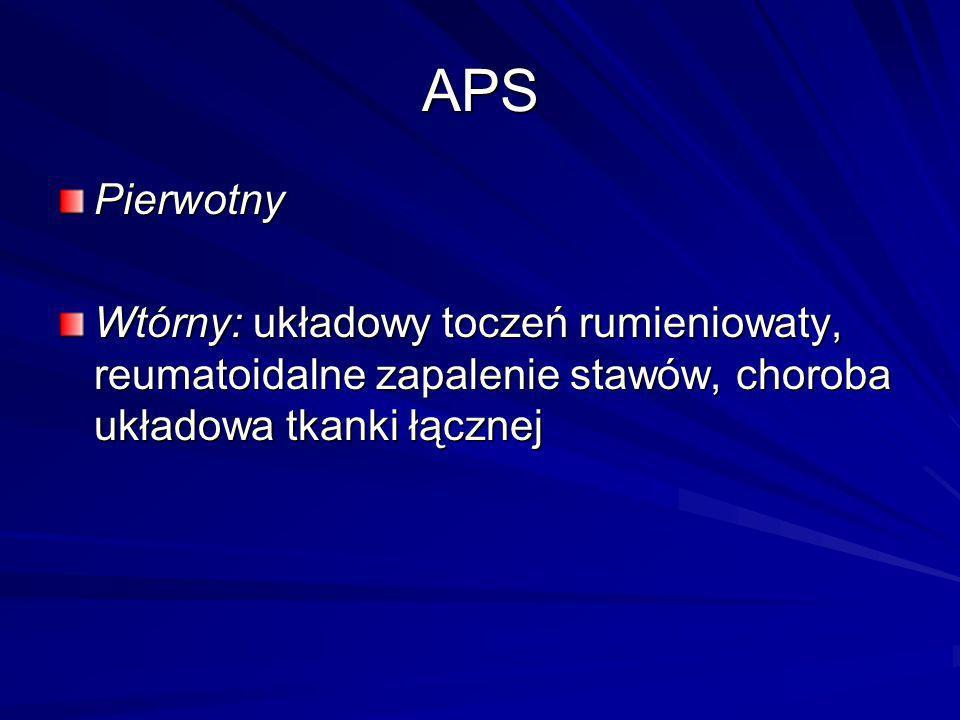 APS Pierwotny Wtórny: układowy toczeń rumieniowaty, reumatoidalne zapalenie stawów, choroba układowa tkanki łącznej