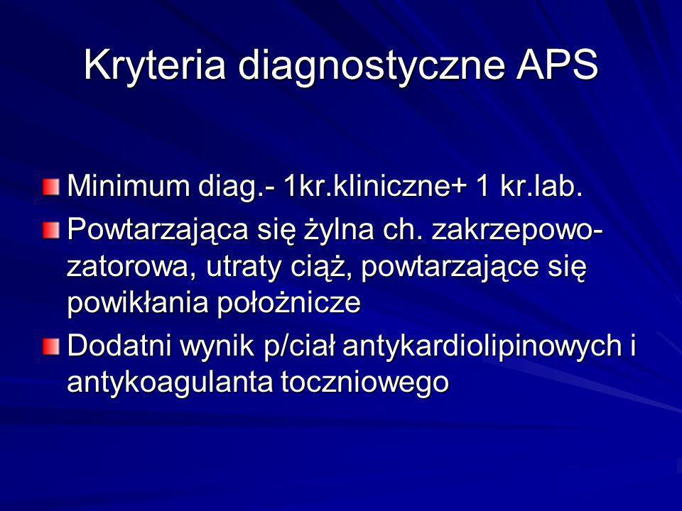 Kryteria diagnostyczne APS Minimum diag.- 1kr.kliniczne+ 1 kr.lab. Powtarzająca się żylna ch. zakrzepowo- zatorowa, utraty ciąż, powtarzające się powi