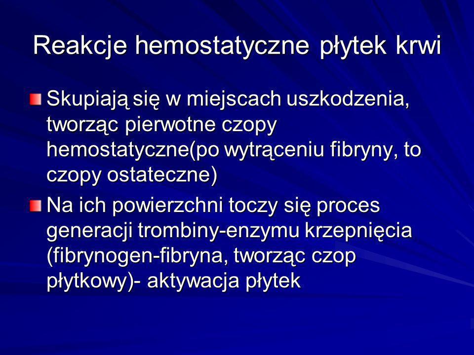 Reakcje hemostatyczne płytek krwi Skupiają się w miejscach uszkodzenia, tworząc pierwotne czopy hemostatyczne(po wytrąceniu fibryny, to czopy ostatecz