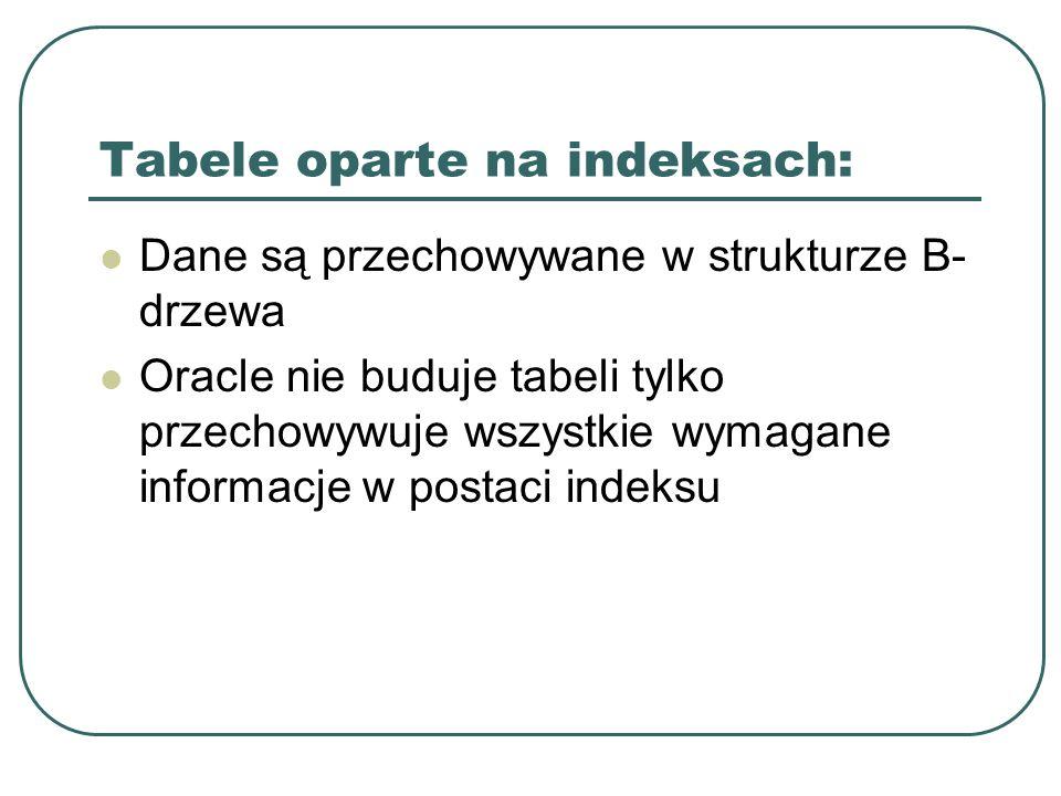 Tabele oparte na indeksach: Dane są przechowywane w strukturze B- drzewa Oracle nie buduje tabeli tylko przechowywuje wszystkie wymagane informacje w postaci indeksu