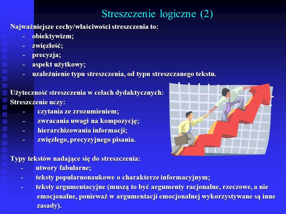 Streszczenie logiczne (2) Najważniejsze cechy/właściwości streszczenia to: - obiektywizm; - obiektywizm; - zwięzłość; - zwięzłość; - precyzja; - precy