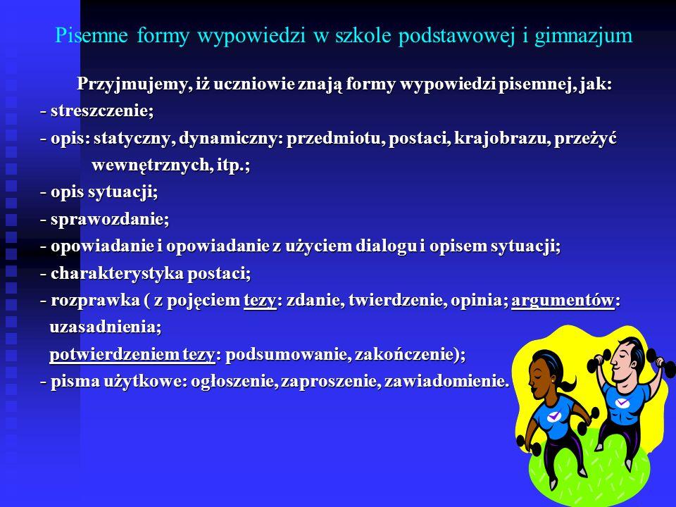 Pisemne formy wypowiedzi w szkole podstawowej i gimnazjum Przyjmujemy, iż uczniowie znają formy wypowiedzi pisemnej, jak: - streszczenie; - streszczen