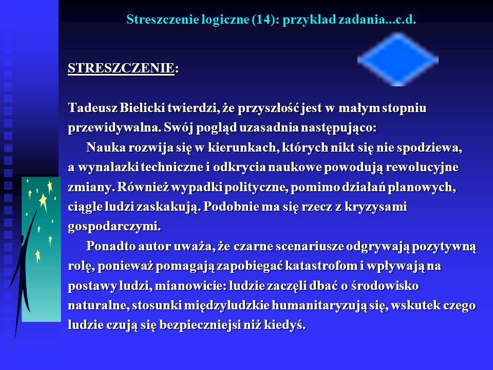Streszczenie logiczne (14): przykład zadania...c.d. STRESZCZENIE: Tadeusz Bielicki twierdzi, że przyszłość jest w małym stopniu przewidywalna. Swój po