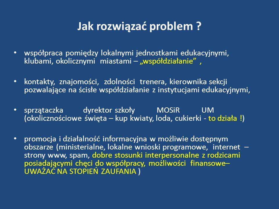 Jak rozwiązać problem ? współpraca pomiędzy lokalnymi jednostkami edukacyjnymi, klubami, okolicznymi miastami – współdziałanie, kontakty, znajomości,