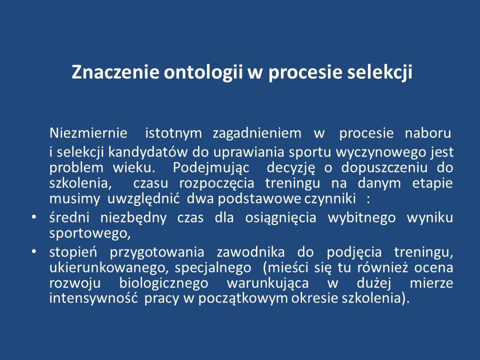Znaczenie ontologii w procesie selekcji Niezmiernie istotnym zagadnieniem w procesie naboru i selekcji kandydatów do uprawiania sportu wyczynowego jes