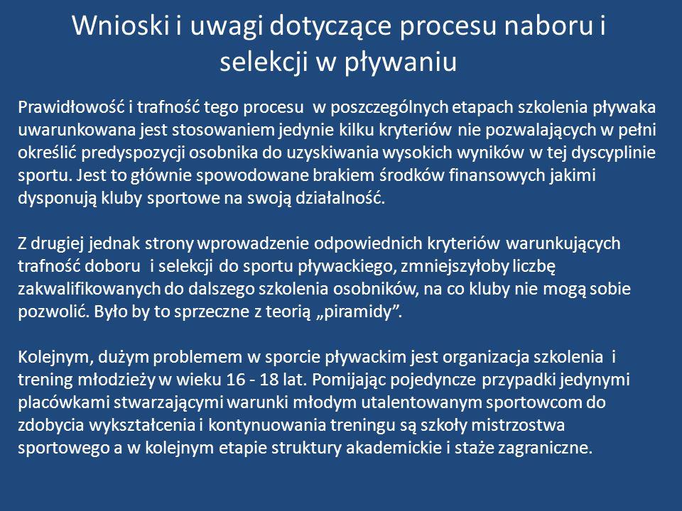 Prawidłowość i trafność tego procesu w poszczególnych etapach szkolenia pływaka uwarunkowana jest stosowaniem jedynie kilku kryteriów nie pozwalającyc