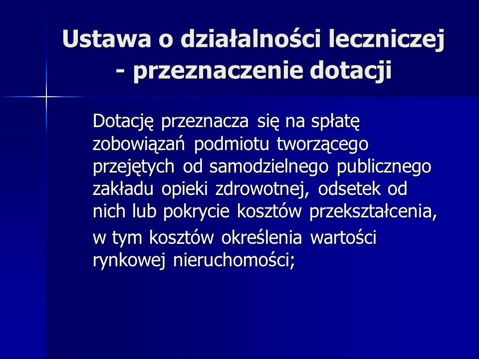 Ustawa o działalności leczniczej - przeznaczenie dotacji Dotację przeznacza się na spłatę zobowiązań podmiotu tworzącego przejętych od samodzielnego p