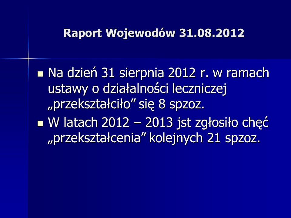 Raport Wojewodów 31.08.2012 Na dzień 31 sierpnia 2012 r. w ramach ustawy o działalności leczniczej przekształciło się 8 spzoz. Na dzień 31 sierpnia 20