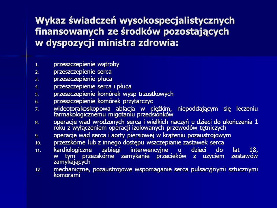 Wykaz świadczeń wysokospecjalistycznych finansowanych ze środków pozostających w dyspozycji ministra zdrowia: 1. przeszczepienie wątroby 2. przeszczep